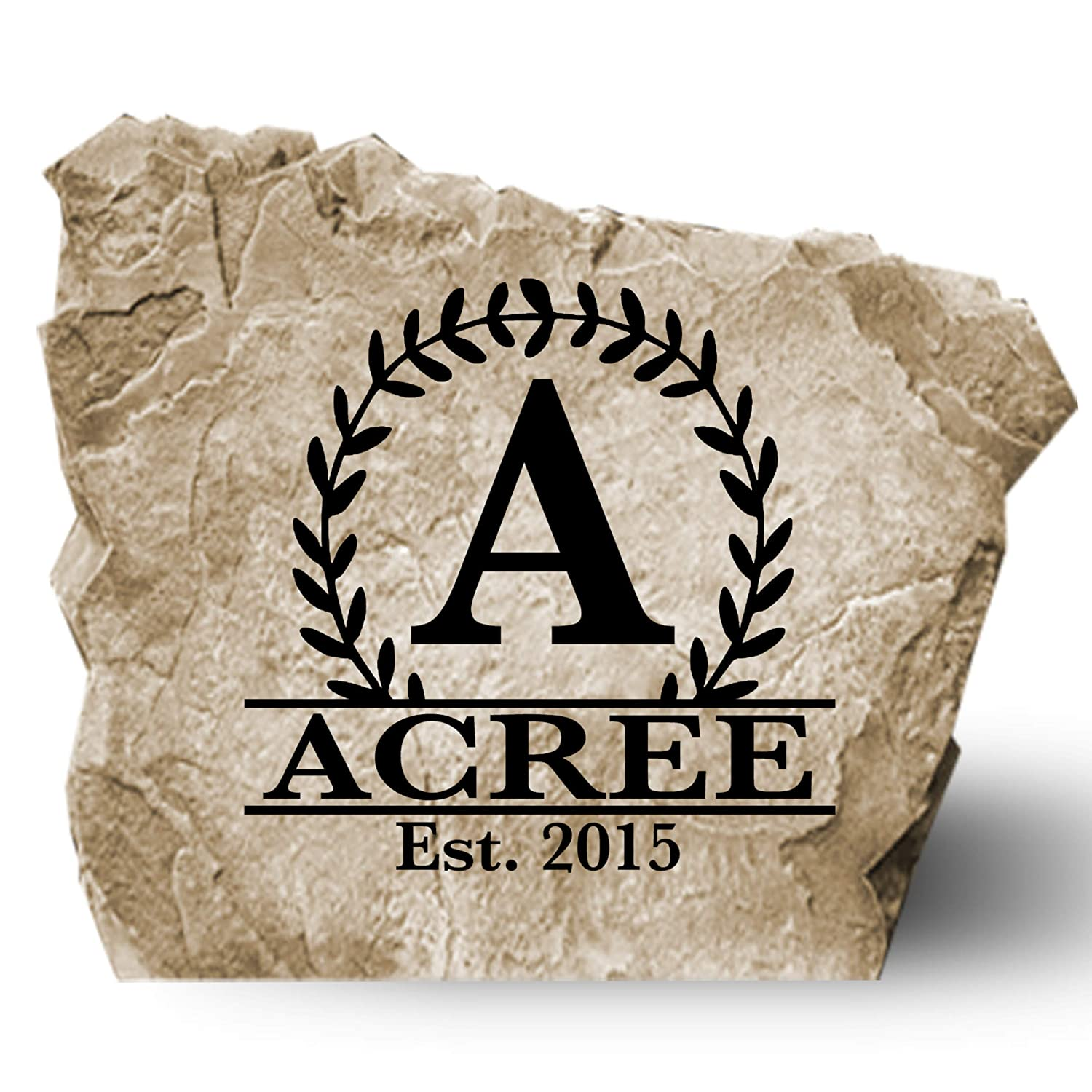 "Personalized Engraved Monogram Name Established Date Garden Stone - Landscape Stone - Sandstone Color - 14"" W x 14"" H"