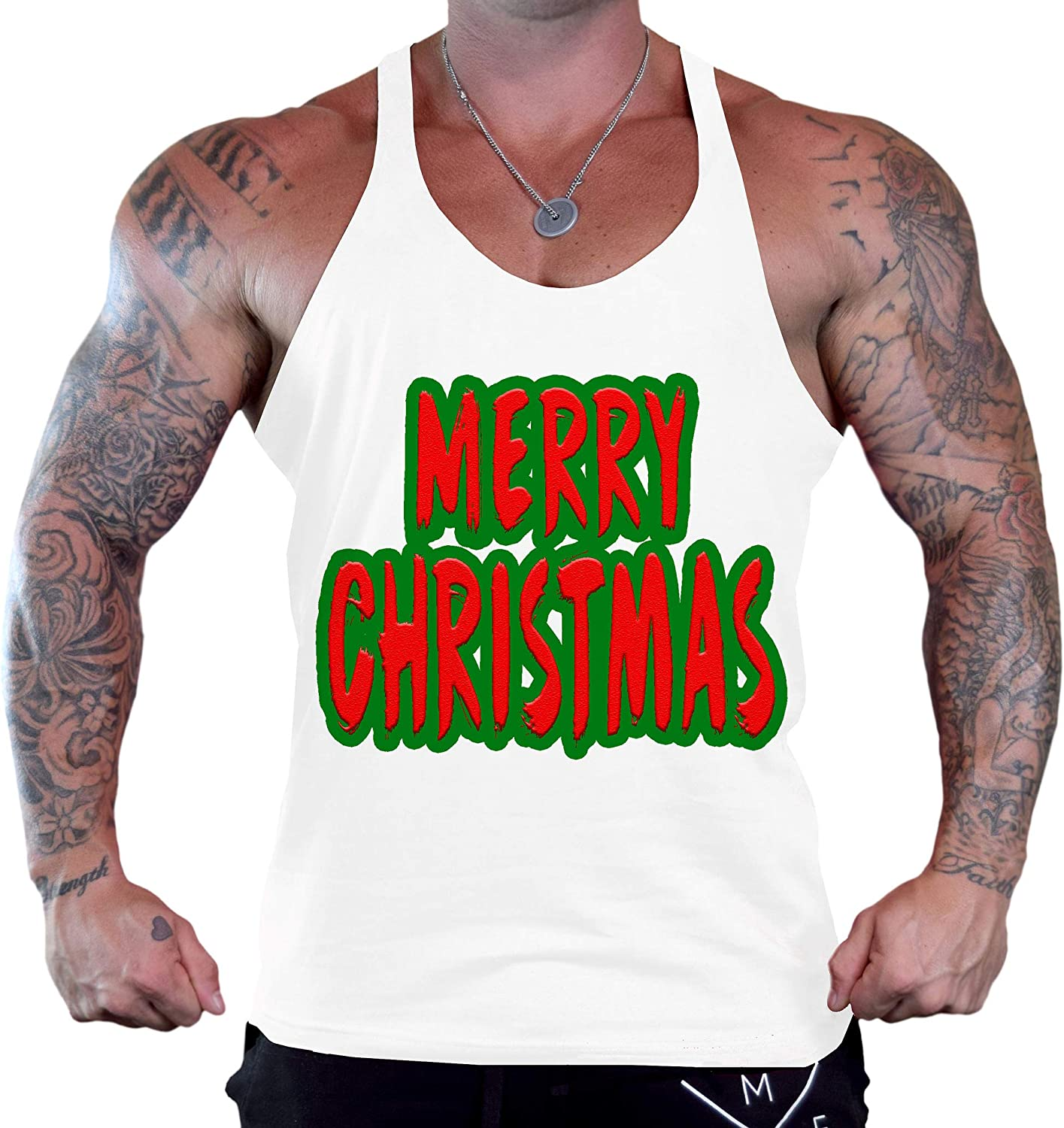 Mens Merry Christmas Bitches Tee Red Stringer Tank Top