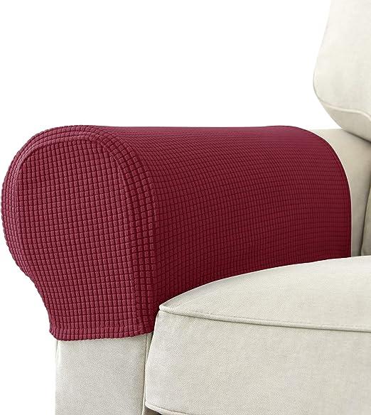 Color Negro para sillas de Licra Suave sof/á Antideslizantes SU SUBRTEX Juego de 2 Fundas el/ásticas para reposabrazos y sill/ón