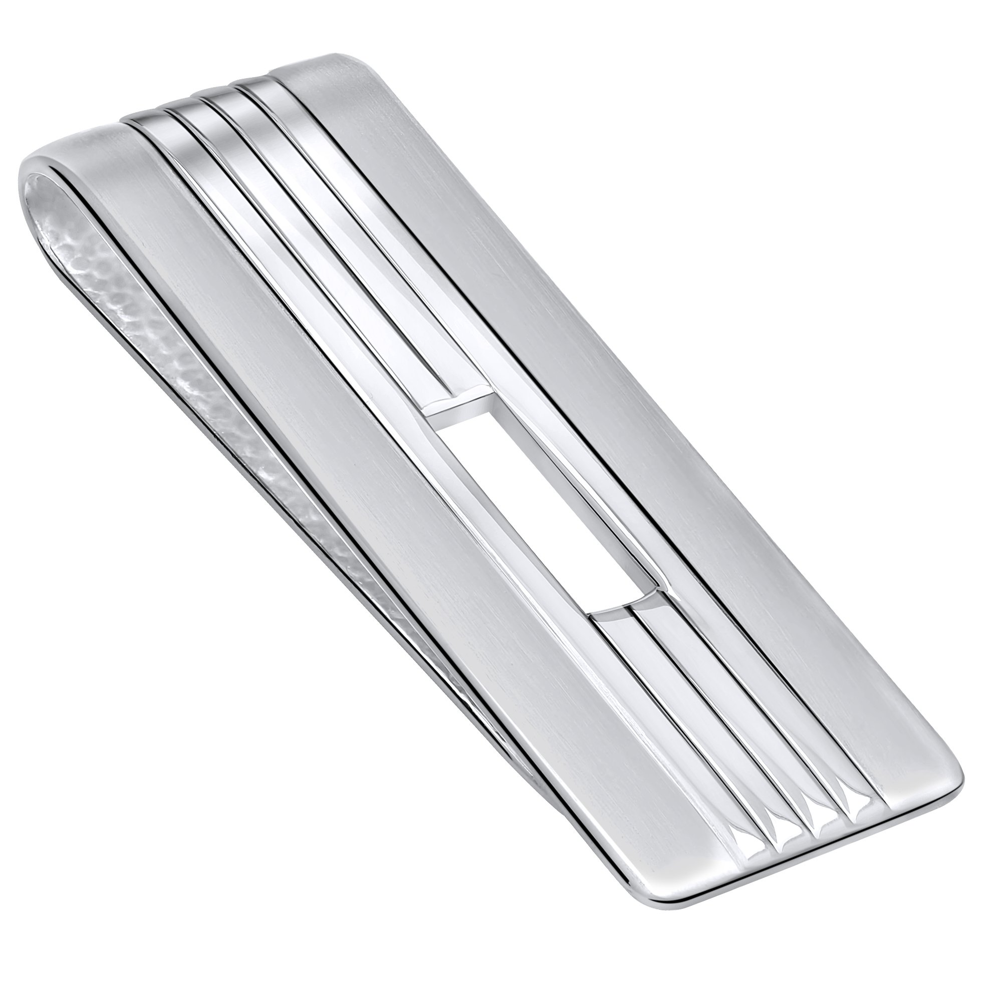 Sterling Silver .925 Money Clip Solid Striped Design with Satin Finish Accents, Pebbled Underside, Designed and Made In Italy. By Sterling Manufacturers