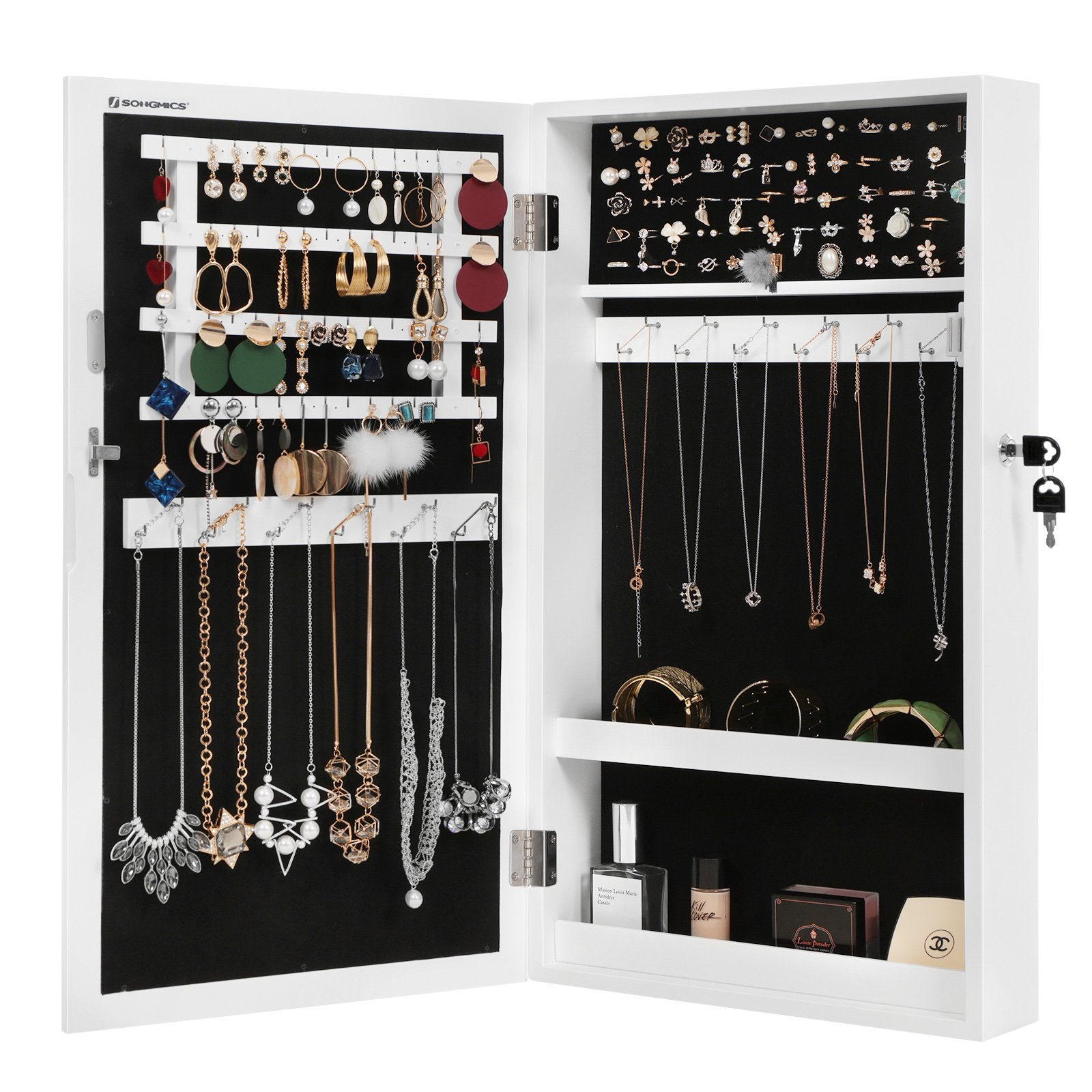 SONGMICS Lockable Jewelry Cabinet Armoire with Mirror, Wall-Mounted Space Saving Jewelry Storage Organizer White UJJC51WT by SONGMICS (Image #9)