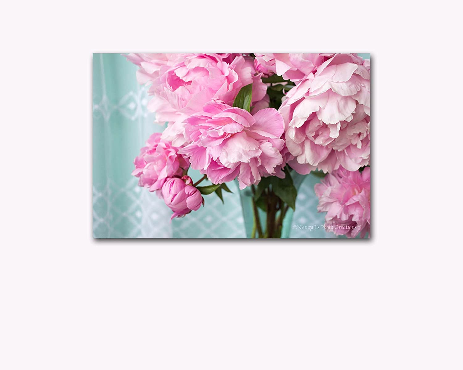 Amazon.com: Flower Bouquet Photography on CANVAS Pink Peony ...