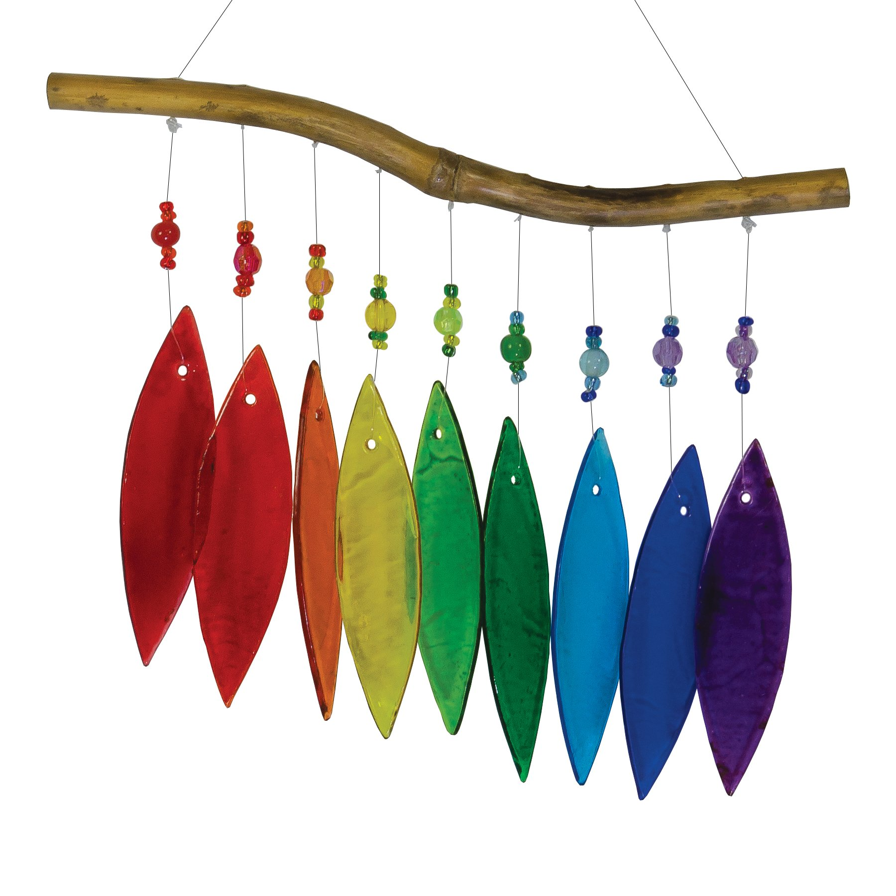 In the Breeze Rainbow Glass and Bead Wind Chime - Colorful Hanging Suncatcher - Hanging Glass Decoration