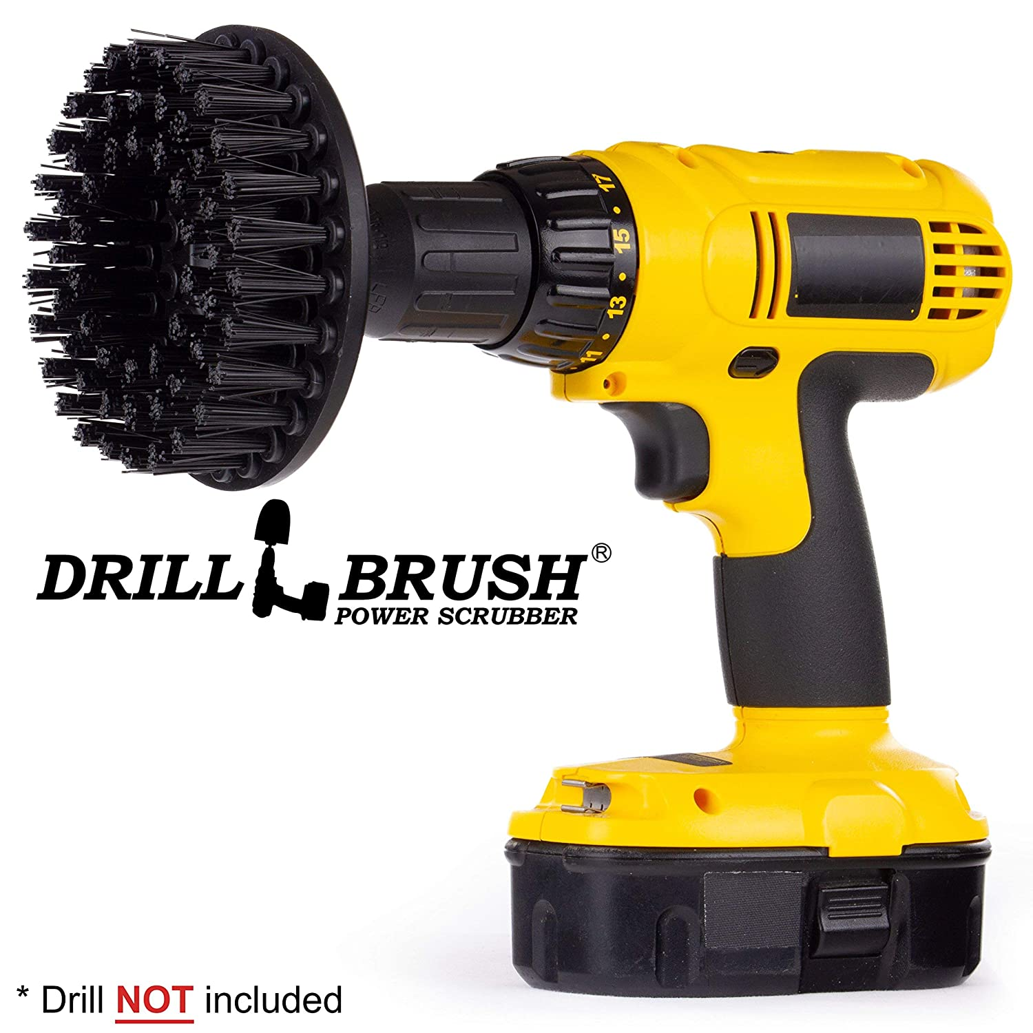 Wire Brush Alternative. 5 Inch Round Black Ultra-stiff Masonry and Bricklayer brush for Rust Stain Removal, Granite, and Stone Cleaning by Drillbrush 5in-S-K-H-DB