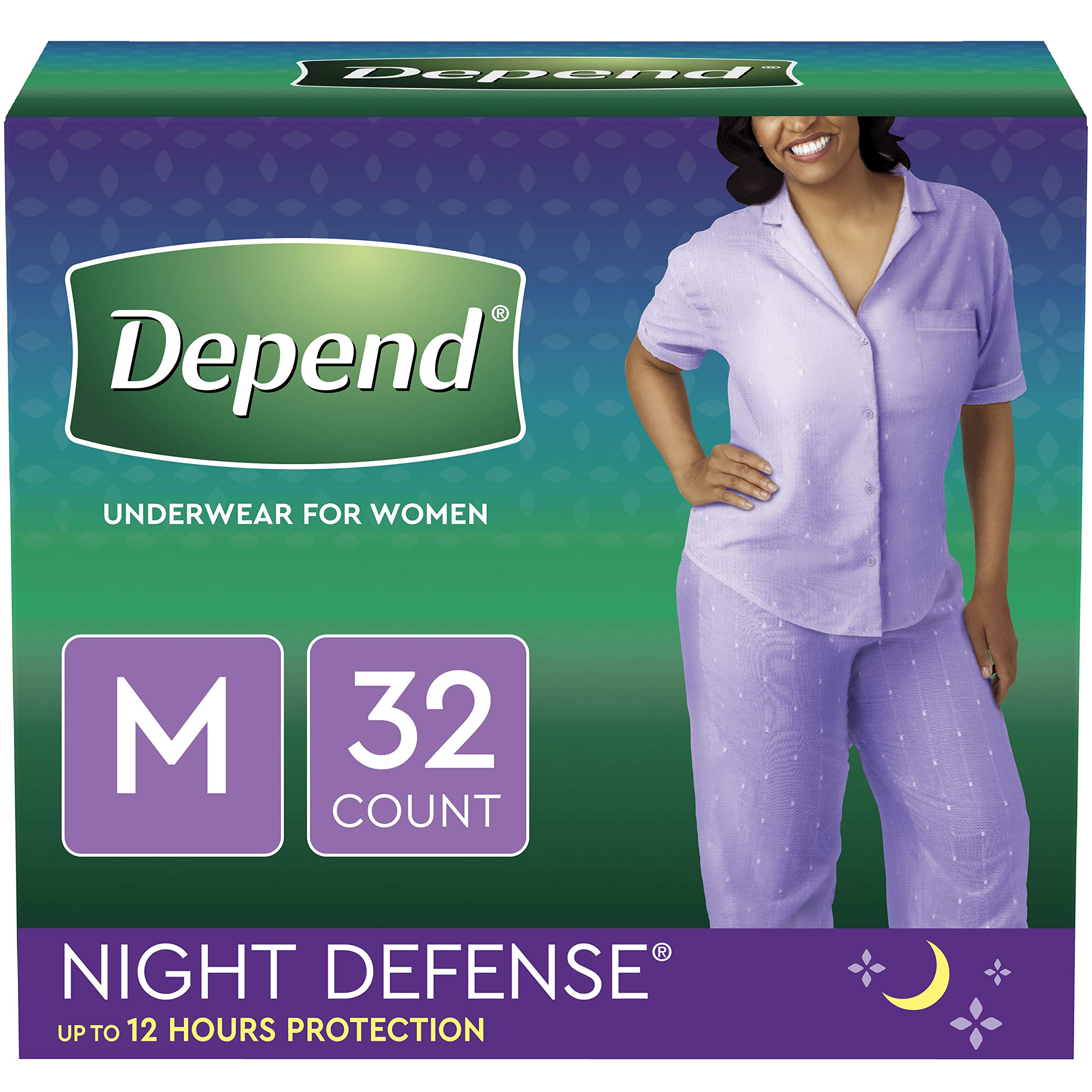 Depend Night Defense Incontinence Underwear for Women, Disposable, Overnight, M, Blush, 32 Count by Depend