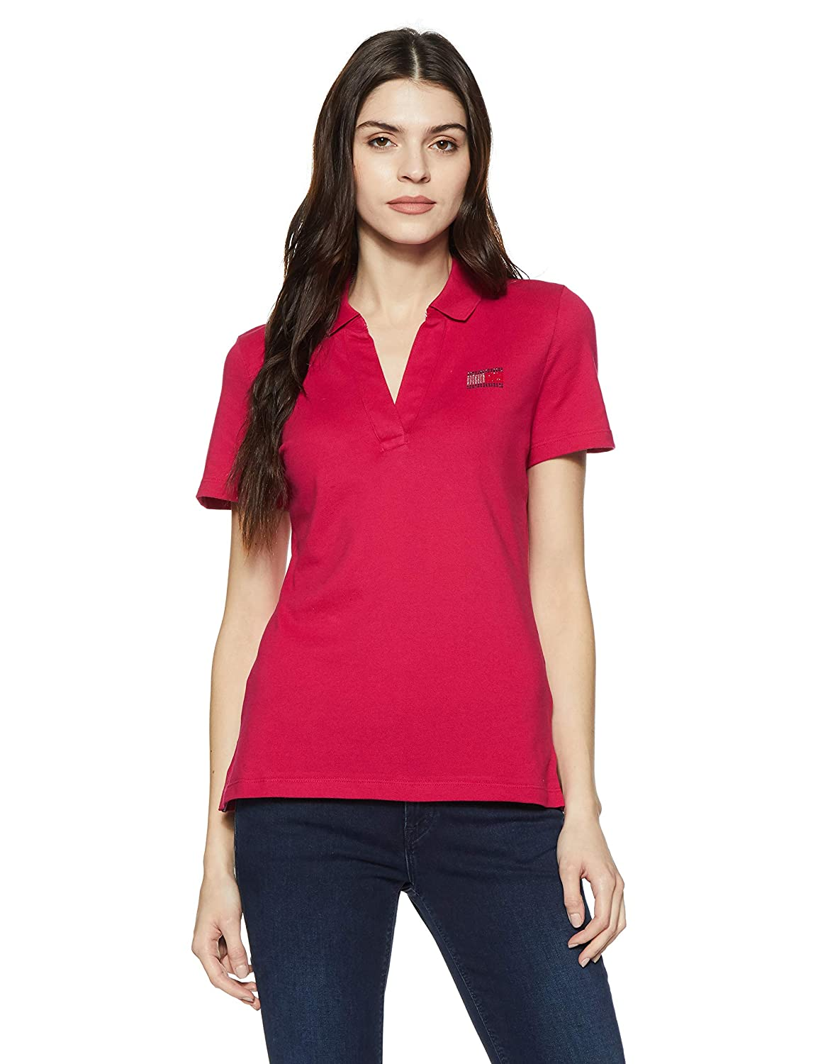 85e5cb4f70c Tommy Hilfiger Women's Plain Regular Fit Polo: Amazon.in: Clothing &  Accessories