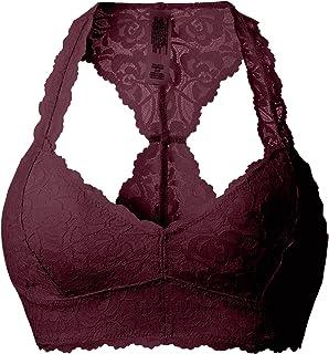 90069dc1663b6 DeepTwist Women s Sexy Lace Racerback Bralette Bustier Breathable Crop Top  Bra