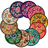 "Coasters for Drinks,Vintage Ethnic Floral Design Placemat Value Pack, 10pcs/Set, 5.12""/13cm (Mixed Colors)"