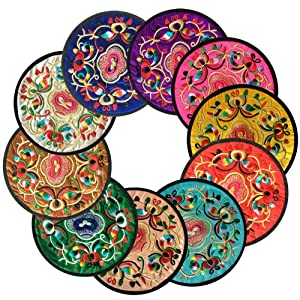 "Ambielly Coasters for Drinks,Vintage Ethnic Floral Design Fabric Coasters Value Pack, 10pcs/Set, 5.12""/13cm (Mixed Colors)"