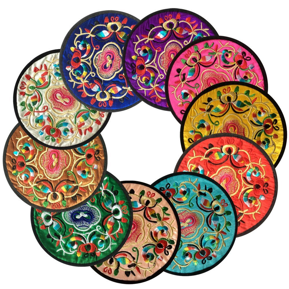 Coasters for Drinks,Vintage Ethnic Floral Design Fabric Coasters Value Pack, 10pcs/Set, 5.12''/13cm (Mixed Colors)