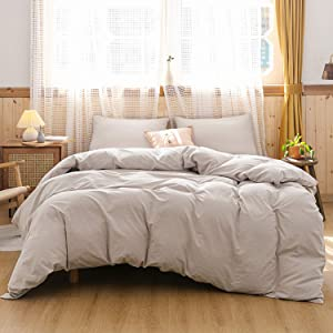 ECOCOTT 3 Pieces Duvet Cover Set Queen 100% Washed Cotton 1 Duvet Cover with Zipper and 2 Pillowcases, Ultra Soft and Easy Care Breathable Cozy Simple Style Bedding Set(Beige)