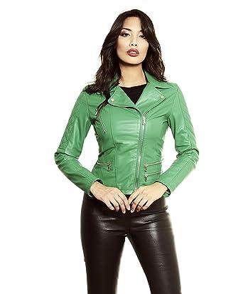 3e819cec6cda D Arienzo - Nadia • Couleur Verte • Veste en Cuir Femme Perfecto Cuir  plongé Aspect Lisse  Amazon.fr  Vêtements et accessoires