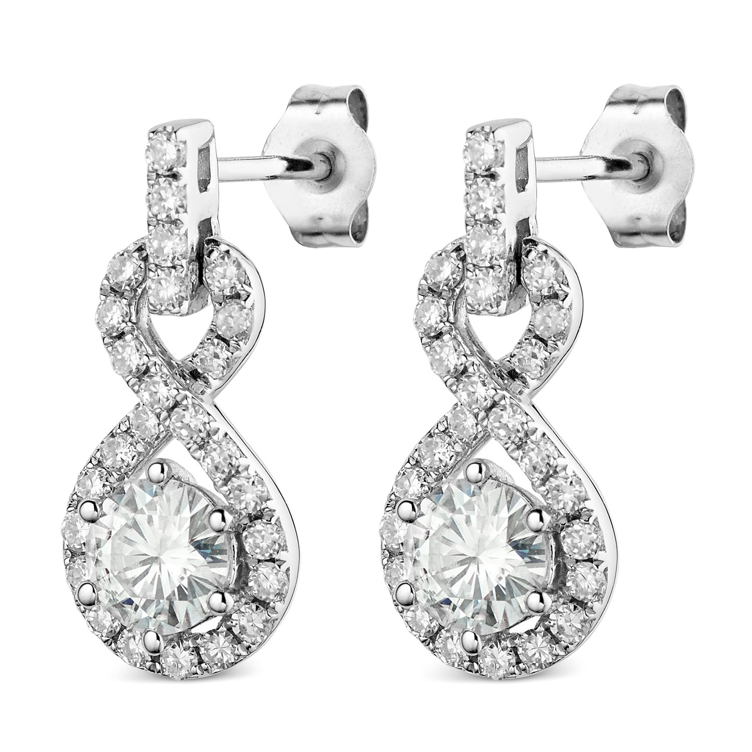 Forever Classic 5.0mm Round Cut Moissanite White Gold Dangle Earrings, 1.52cttw DEW By Charles & Colvard