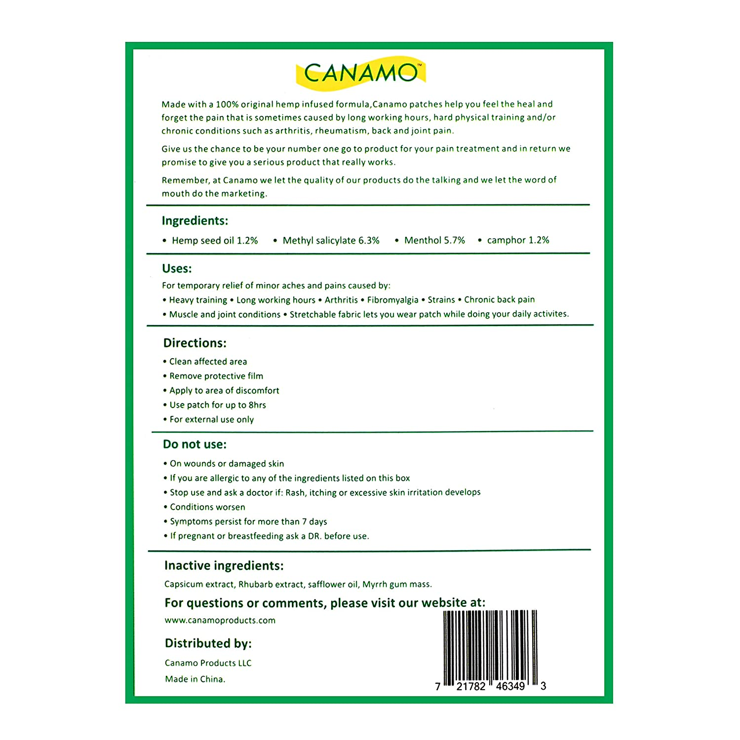 CANAMO Pain Relieving Patches with Hemp Oil for Arthritis, Back Pain, Joint  and Muscle Pain