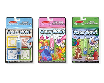 Melissa & Doug On The Go Water Wow! Activity Pad 3-Pack, Shapes, Fairy Tale, Animals (Reusable Water-Reveal Coloring Books)