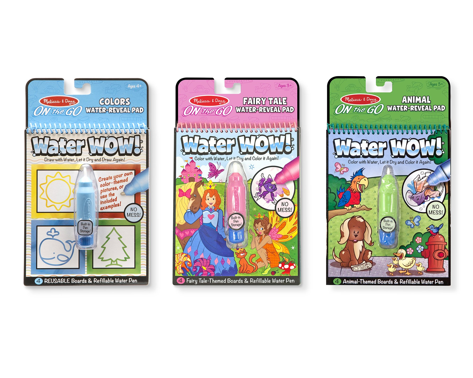 Melissa & Doug On the Go Water Wow! Reusable Water-Reveal Activity Pads, 3-pk, Colors and Shapes, Fairy Tales, Animals