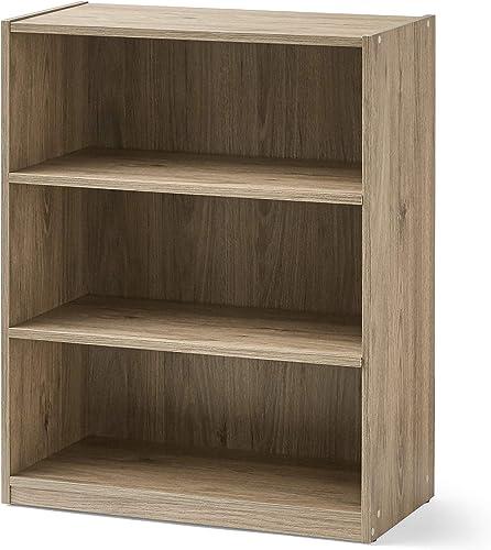 Mainstay' 3-Shelf Bookcase | Wide Bookshelf Storage Wood Furniture A Rustic Oak