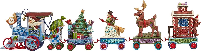 "3.5/"" Jim Shore Heartwood Creek Holiday Express Train 5-Piece Mini Set Stone Resin Figurine"