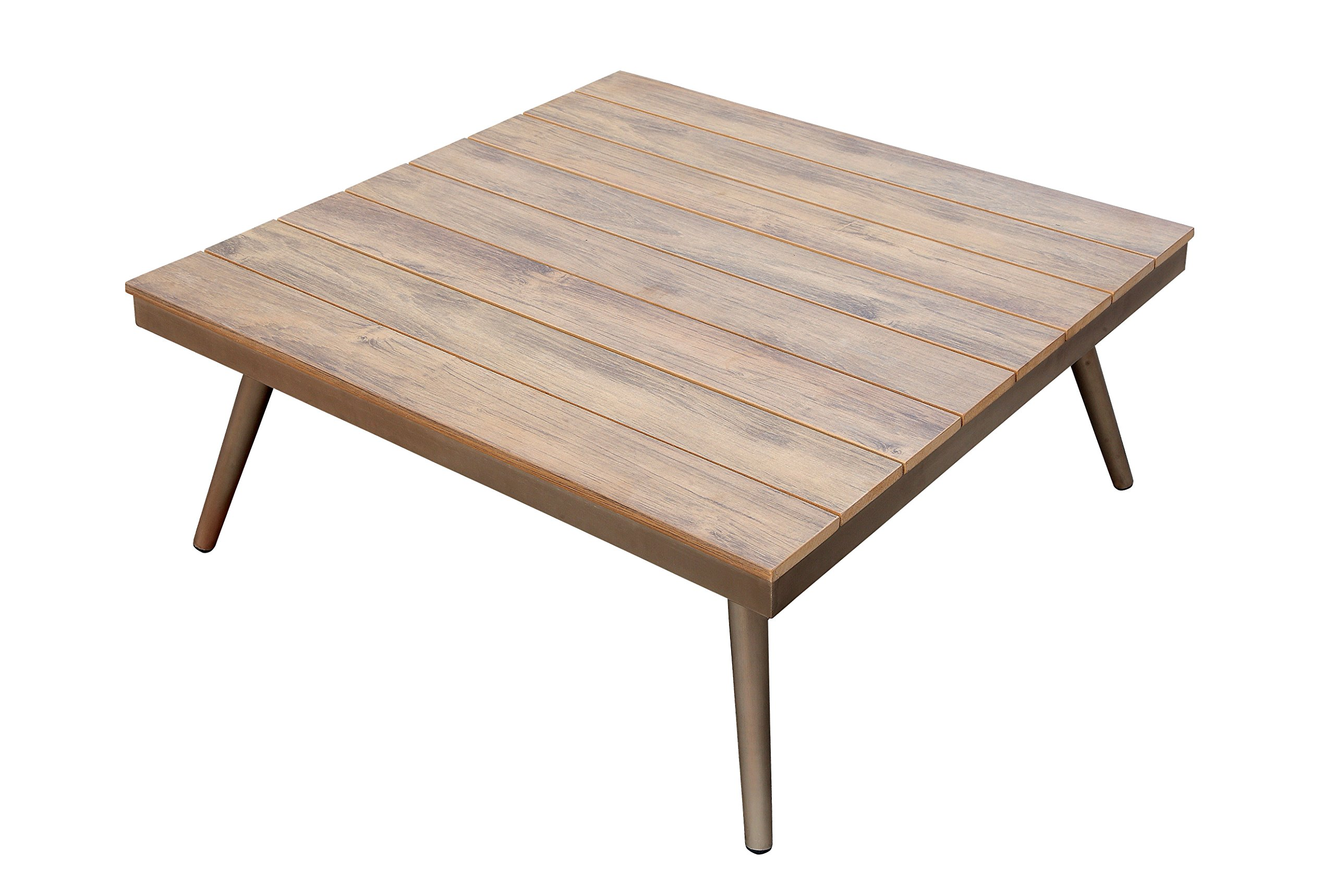 24/7 Shop at Home 247SHOPATHOME IDF-OS2582-T Mulberry Outdoor Coffee Table, Brushed Champagne - Contemporary style Oak faux wood top with plank-style design Sturdy aluminum frame in a chic Brushed Champagne finish - patio-tables, patio-furniture, patio - 81EyVePmcRL -