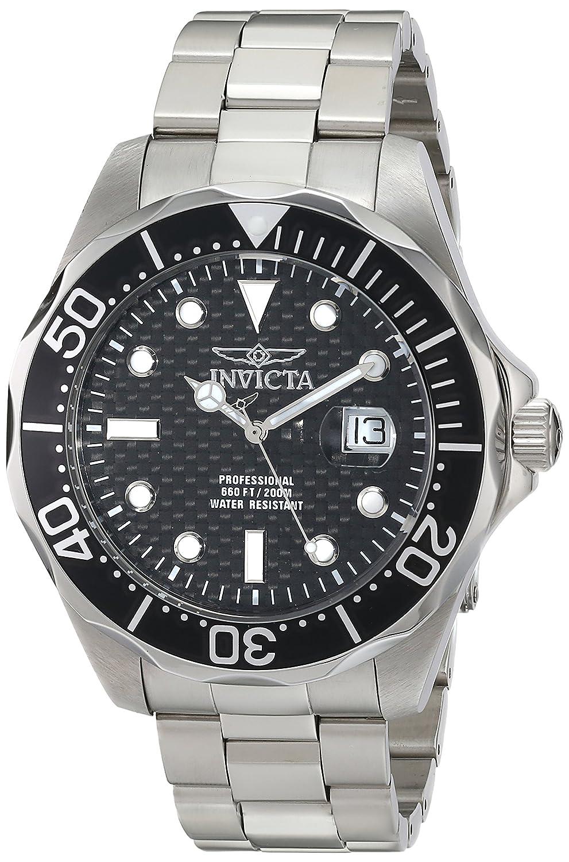 Invicta Men s 12562X Pro Diver Black Carbon Fiber Dial Stainless Steel Watch
