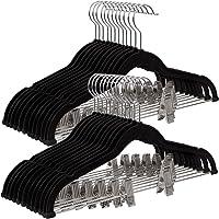 SONGMICS 30 Perchas para Pantalón de Terciopelo de 42,5 cm, con Clips Ajustables, Resistentes, Antideslizantes, Ahorran…