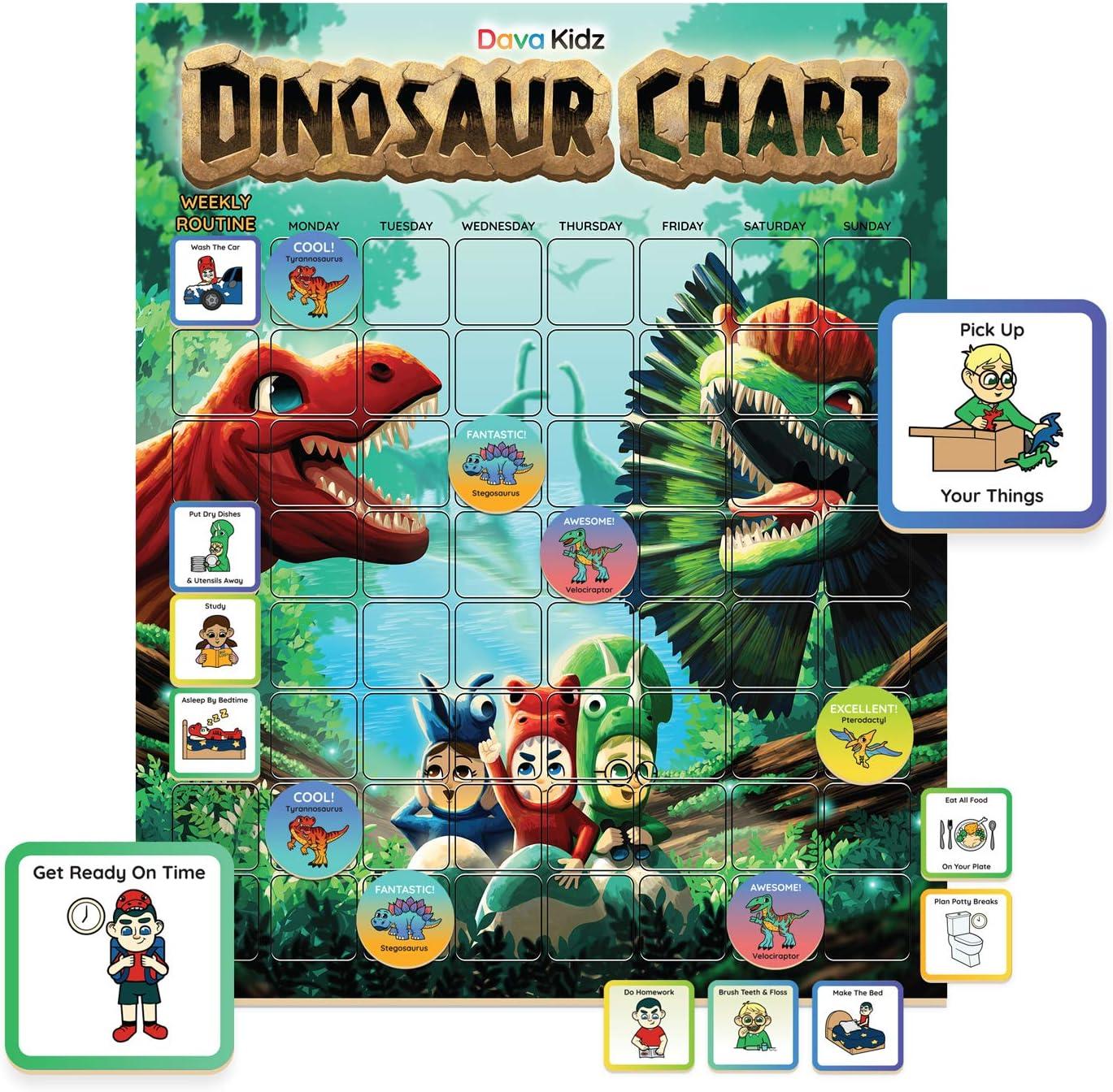 Dinosaur Chore Chart for Kids - Magnetic Reward Chart to Spark New Routines & Responsibility at Home - Behavior Chart to Raise Star Children Boys & Girls - Task & Reward Magnets