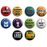 """Funny Pinback Buttons – Adulting (10-Pack) – Large 2.25"""" Cool Fashion Accessories Indoor Outdoor Wear – Epic Collection Set –"""