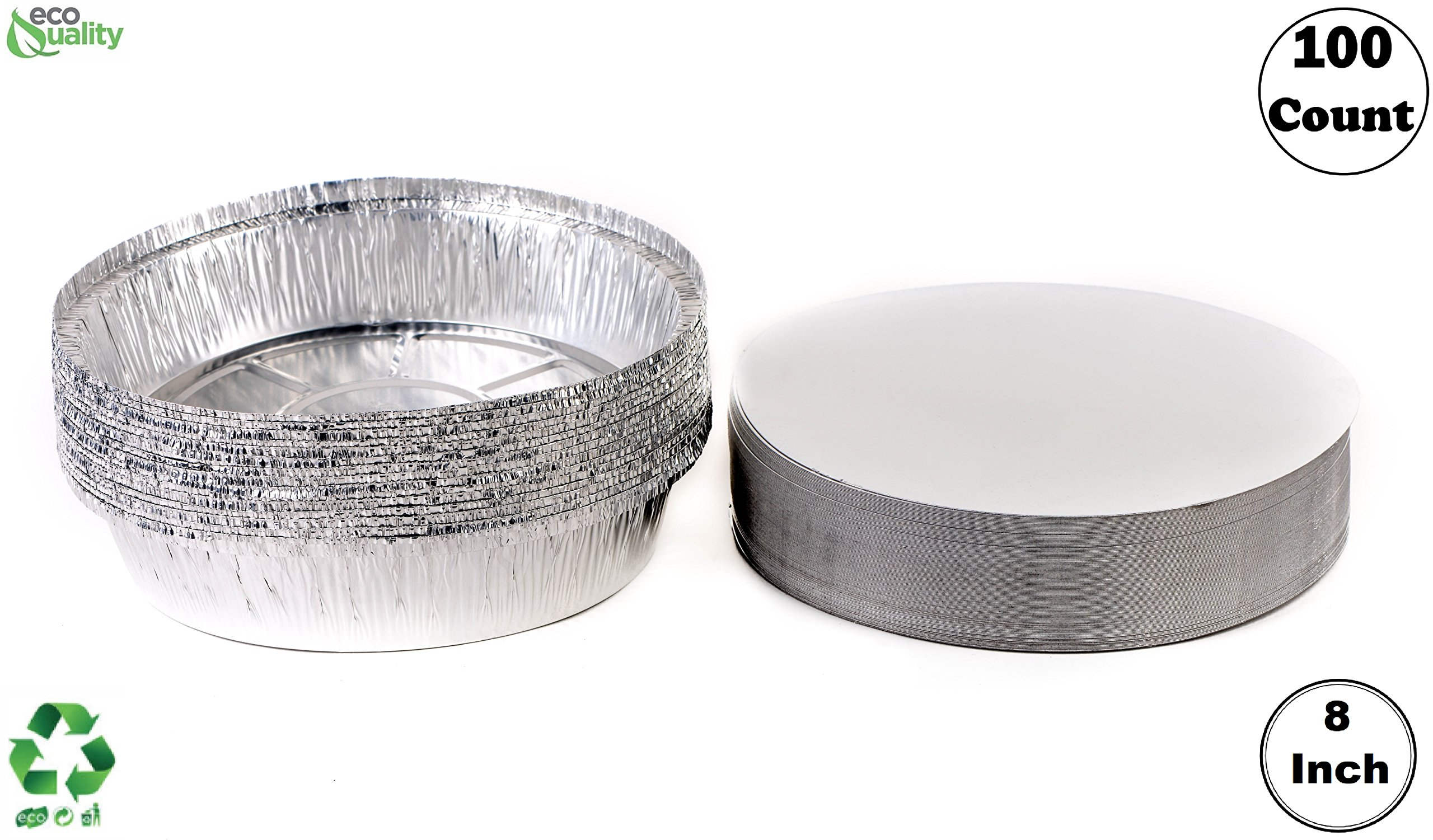 (100 Pack) - 8 Inch Disposable Round Aluminum Foil Take-Out Pans with Board Lids Set - Disposable Tin Containers, Perfect for Baking, Cooking, Catering, Parties, Restaurants by EcoQuality