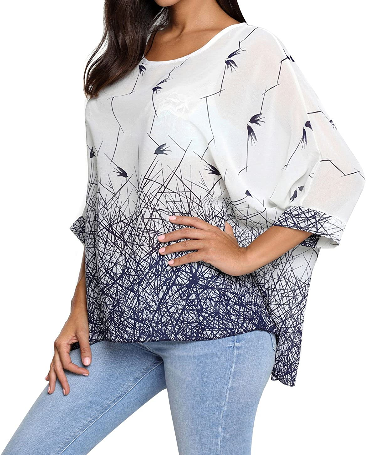 OUKIN Women Bohemian Floral Batwing Sleeve Plus Sheer Chiffon Oversize Loose Off Shoulder Blouse Tunic Tops Nstyle 6