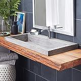 "Native Trails NSL3619-A Native Stone Trough Bathroom Sink, 36"" x 19"", Ash, Single Faucet Hole"
