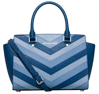 45facfd2341f5a Amazon.com: MICHAEL Michael Kors Selma Medium Satchel (Medium, Blue  Chevron): Shoes