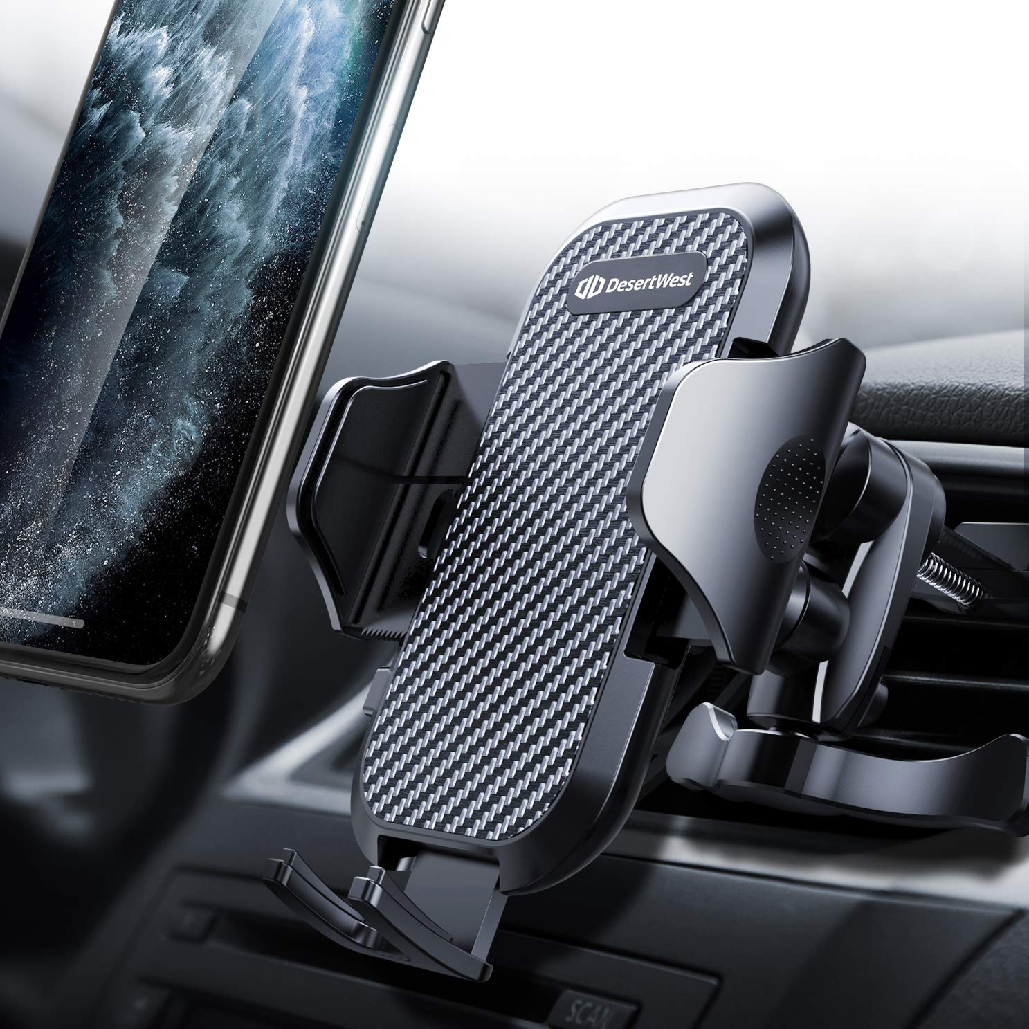 DesertWest Air Vent Car Phone Mount Cell Phone Holder Easy One Touch Compatible with iPhone Samsung Galaxy LG Google Huawei and More by DesertWest