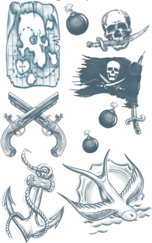 Tinsley Transfers Pirate Buccaneer Temporary Tattoo Kit, Standard ...