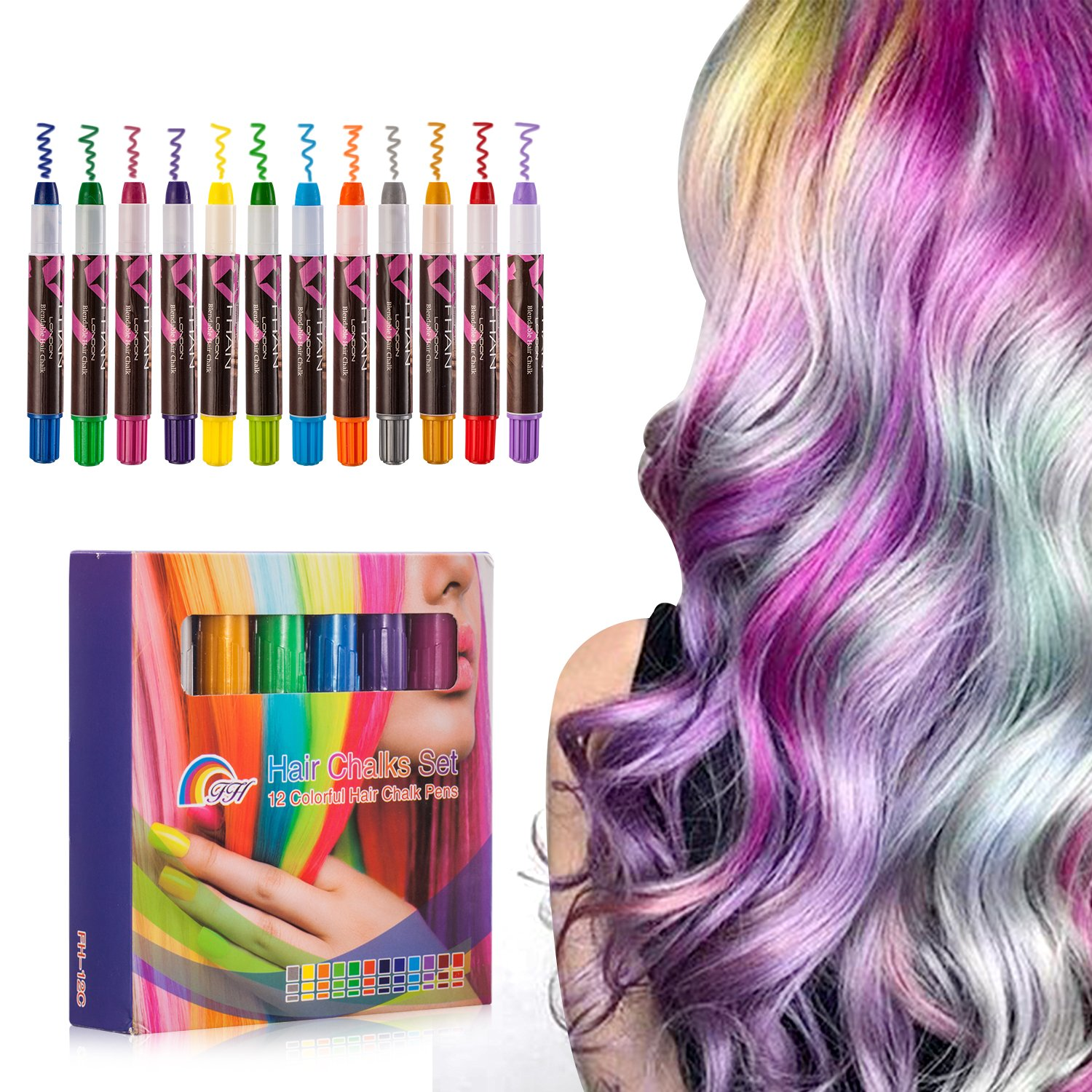 Hair Chalk Set Color Temporary Paint Pen Non-Toxic Portable Hair Dye Set Toys Gifts for Girls Age 4 5 6 7 8 + Birthday Party(12pcs)