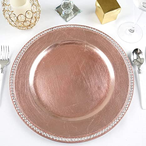 Tableclothsfactory 6 pcs 13 White Beaded Round Charger Plates for Tabletop Decor