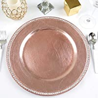 """Efavormart 13"""" Round Crystal Beaded Charger Plates Wedding Party Dinner Servers - Set of 6"""