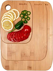Bamboo Cutting Boards Set of 3 - Bamboo Chopping Boards for Kitchen In 3 Sizes: Small, Medium, Large - Wooden Cutting Boards Set Made Of Eco-Friendly Natural Bamboo - BlauKe