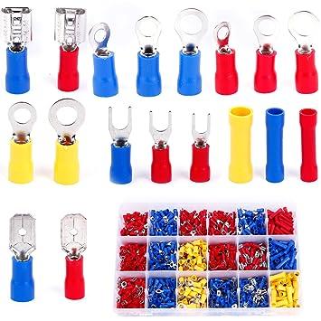 1200stück terminales de cable sin soldadura conector plano Surtido Set en caja: Amazon.es: Bricolaje y herramientas