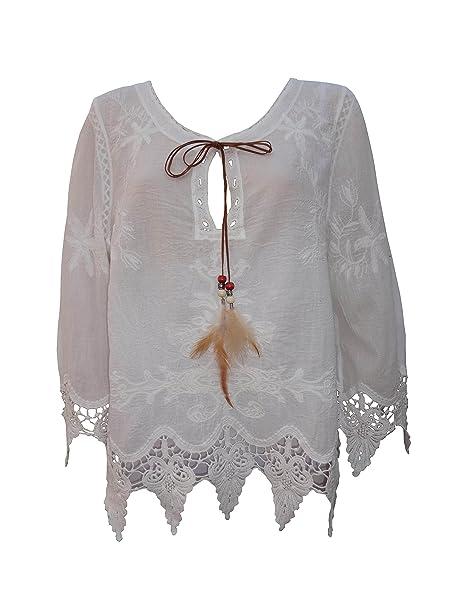 femiss Womens Tropical de encaje crochet Ladies suelta de algodón verano T Shirt Tops Blusa T-shirt Casual: Amazon.es: Ropa y accesorios