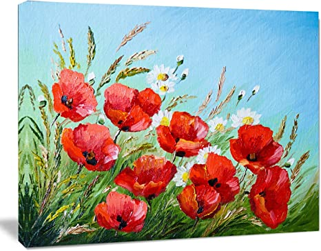 Red Poppies White Sky Flowers SINGLE CANVAS WALL ART Picture Print