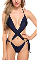 ADOME Women High Waisted Swimwear Push up Bikini Set Halter Underwired Swimsuits