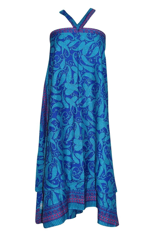 Mogul Interior Women's Bohemian Wraps Skirt Blue Paisley Printed Reversible Premium Silk Skirt One Size ...