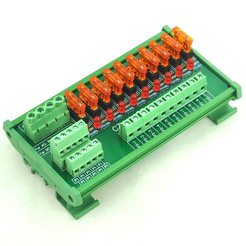 Electronics-Salon DIN Rail Mount 10 Position Power Distribution Fuse Module  Board, For AC/DC 5~32V: Amazon.com: Industrial & Scientific