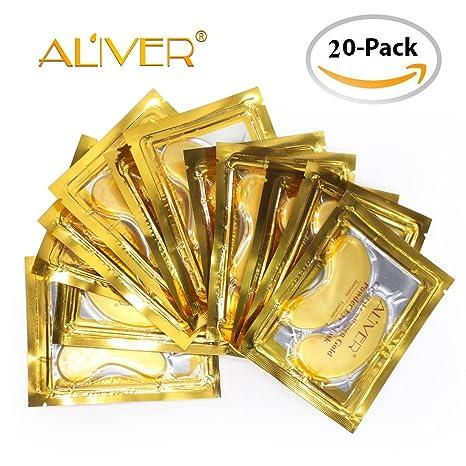 Aliver - Máscara de ojos de colágeno de oro de 24 quilates, antienvejecimiento, antiarrugas