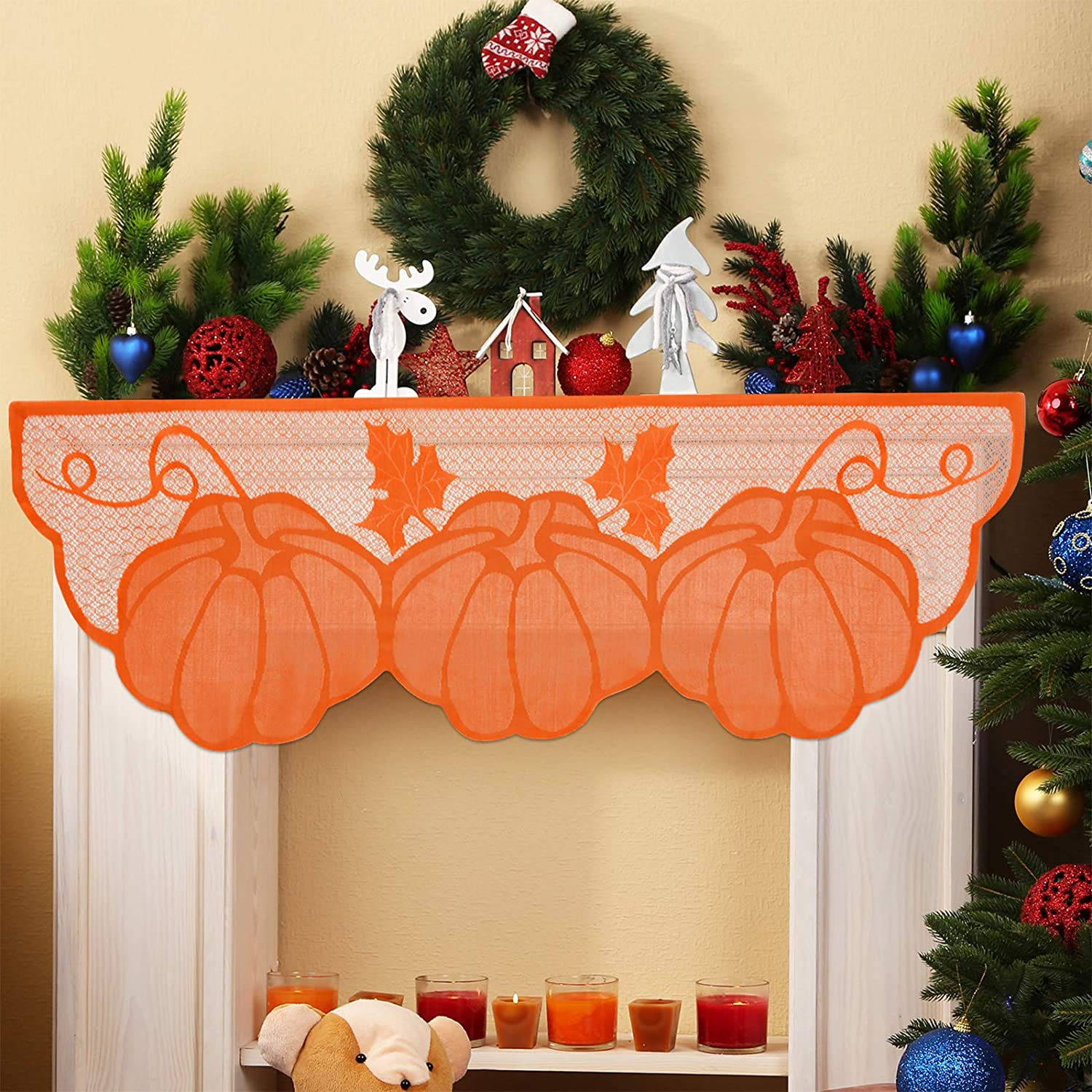 2 Pieces Thanksgiving Decor Lace Fireplace Scarf 20 x 60 Inch Pumpkin Maple Leaves Fall Garland Banner Mantel Scarves Cover Harvest Seasonal Decor for Thanksgiving Door Autumn Table Window Decoration