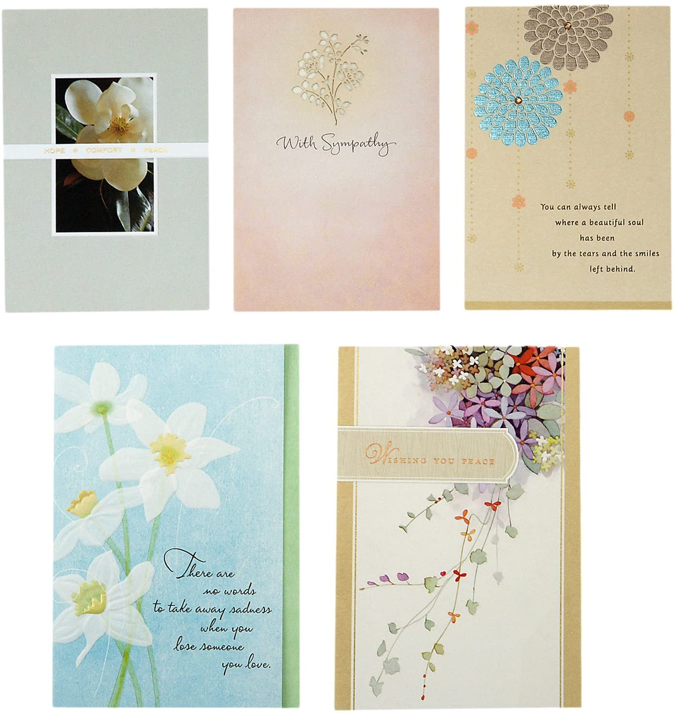 Hallmark Sympathy Cards Assortment Pack (5 Condolence Cards with Envelopes)