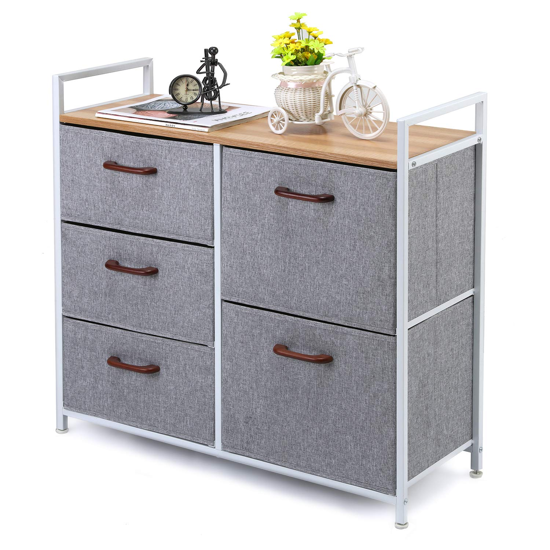 MaidMAX 5 Drawer Dresser, Closet Dresser Organizer with Wood Handles for Clothes, Bedroom, Nursery Room, Grey 903142