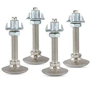 Furniture Leveler or Leg Extender Tee Nut Kit – 4-Pack of 3/8 Swivel Glide levelers with 4 Prong T-Nuts and Jam Nuts (to Stabilize Each Foot) for Table or Cabinet Feet - JN-TN