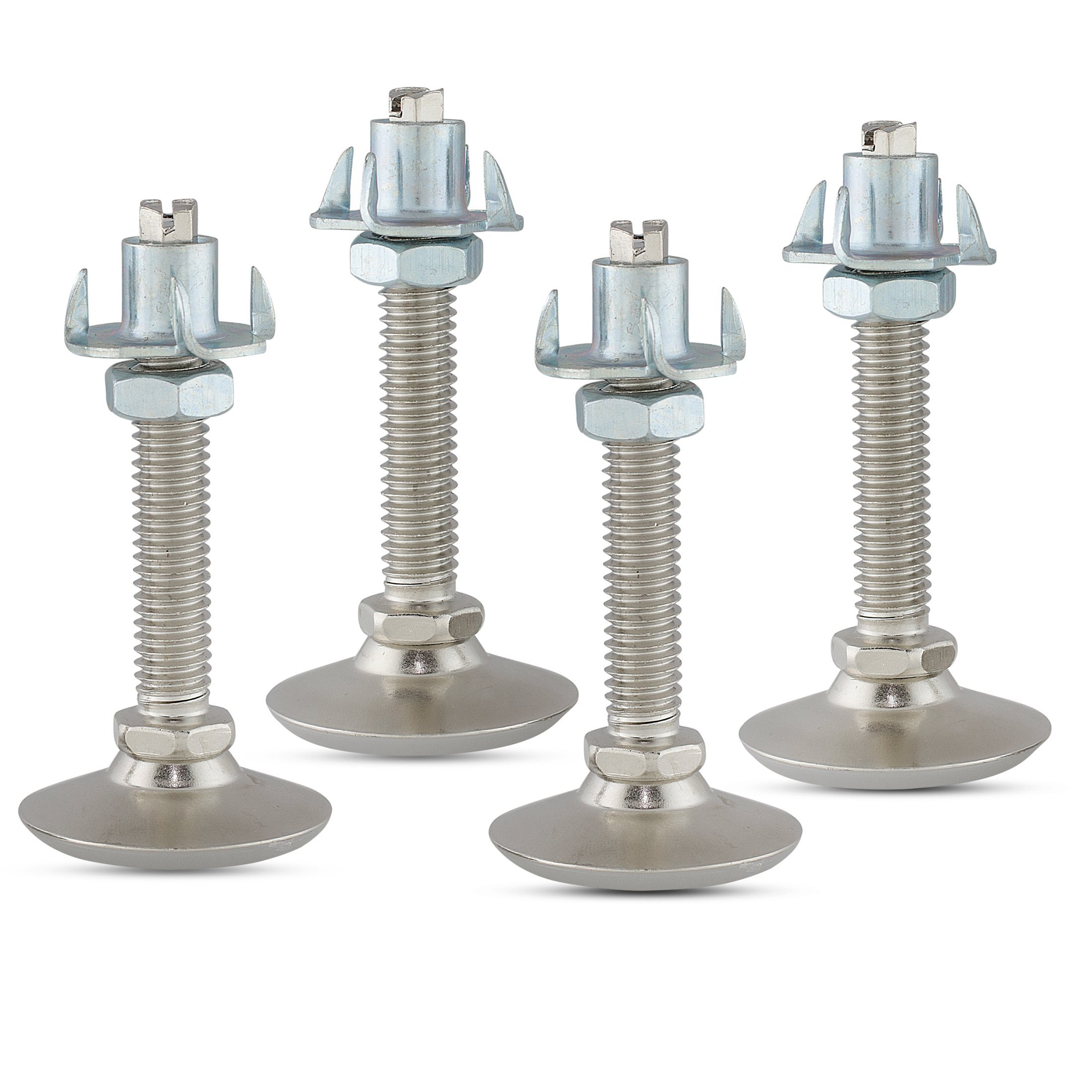 Furniture Leveler or Leg Extender Kit – 4-Pack of 3/8 Swivel Glide levelers with 4 Prong T-Nuts and Jam Nuts for Table or Cabinet Feet to Adjust Height