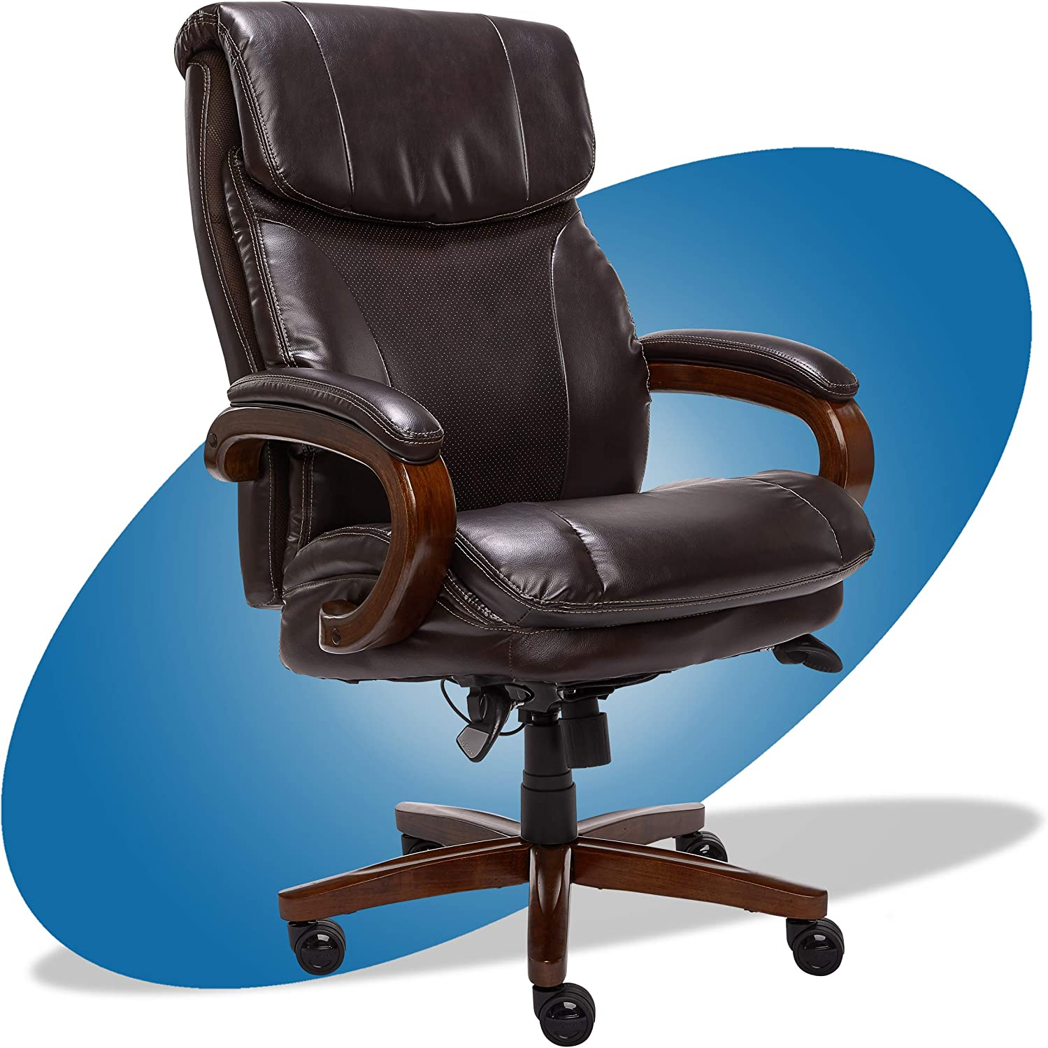 Amazon Com La Z Boy Trafford Big And Tall Executive Office Chair With Air Technology High Back Ergonomic Lumbar Support Brown Bonded Leather Furniture Decor